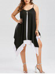 Plus Size V Neck Handkerchief Dress - White And Black - 5xl