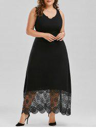 Scalloped Lace Panel Plus Size Prom Dress
