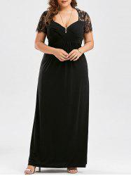 Lace Panel Plus Size Maxi Prom Party Dress - BLACK