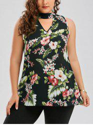 Floral Plus Size Keyhole Neck Hawaiian Blouse