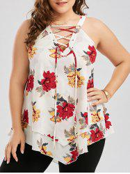 Plus Size Layered Lace Up Floral Blouse - WHITE