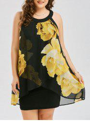 Plus Size Floral Overlay Sheath Dress - YELLOW