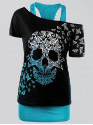 Plus Size Butterfly Skull T-shirt and Tank Top - LAKE BLUE