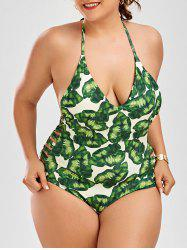 Halter Leaf Print Strappy Plus Size Swimsuit