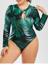 Palm Leaf Print Plus Size One Piece Swimsuit