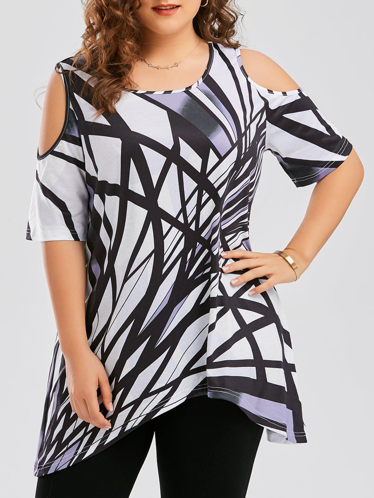 Cold Shoulder Geometric Asymmetrical Plus Size T-shirtWOMEN<br><br>Size: 2XL; Color: WHITE; Material: Polyester,Spandex; Shirt Length: Long; Sleeve Length: Short; Collar: Round Neck; Style: Fashion; Season: Fall,Spring,Summer; Pattern Type: Geometric; Weight: 0.3500kg; Package Contents: 1 x T-shirt;