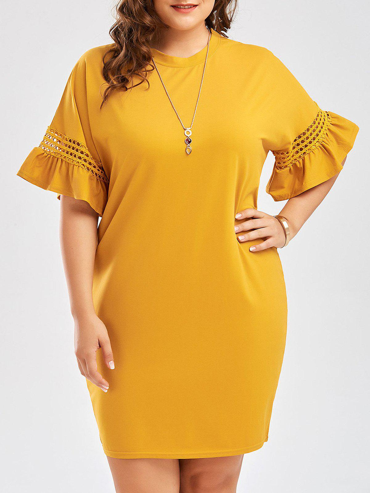 Plus Size Cutout Flare Sleeve  Cocoon Tee DressWOMEN<br><br>Size: 2XL; Color: GINGER; Style: Casual; Material: Cotton Blend,Polyester; Silhouette: Sheath; Dresses Length: Knee-Length; Neckline: Round Collar; Sleeve Type: Flare Sleeve; Sleeve Length: Half Sleeves; Embellishment: Hollow Out; Pattern Type: Solid Color; With Belt: No; Season: Spring,Summer; Weight: 0.3100kg; Package Contents: 1 x Dress;