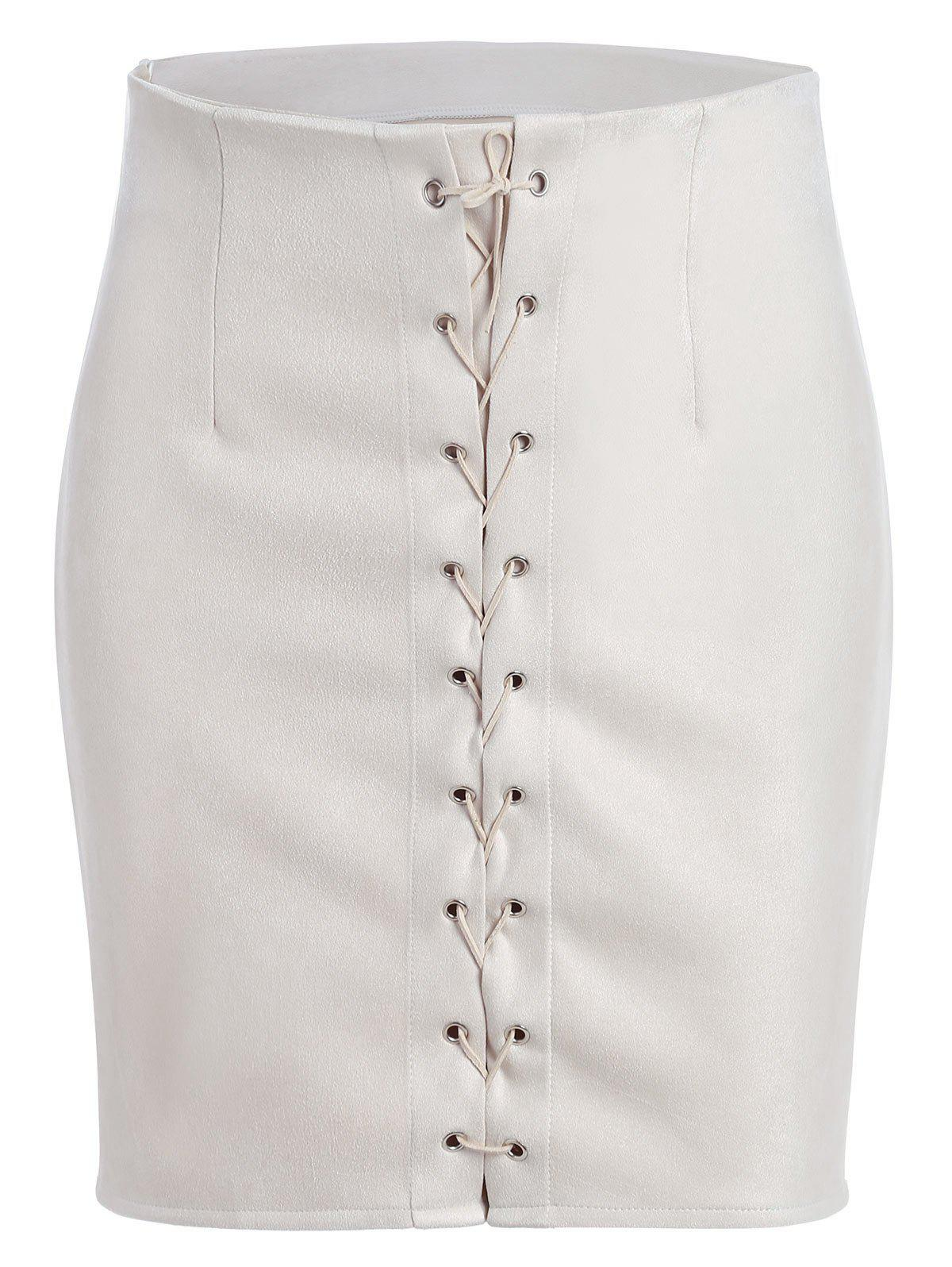 Shop High Waisted Grommet Lace Up Bodycon Skirt