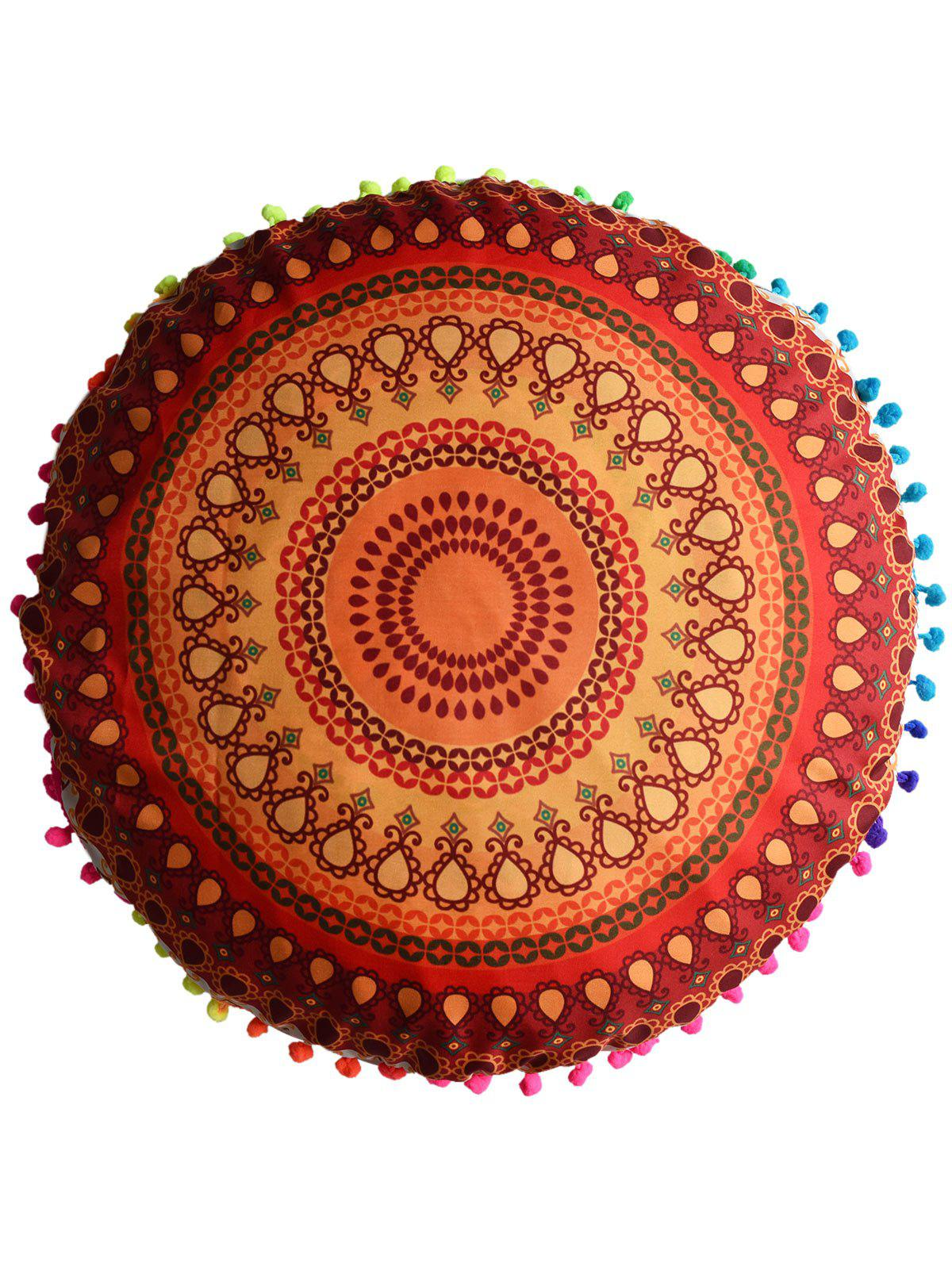 Mandala Printed Floor Round Cushion PillowcaseHOME<br><br>Size: DIAMETER: 45CM; Color: ORANGE RED; Material: Polyester / Cotton; Pattern: Floral; Style: Accent/Decorative; Shape: Round; Weight: 0.0500kg; Package Contents: 1 x Pillow Case;