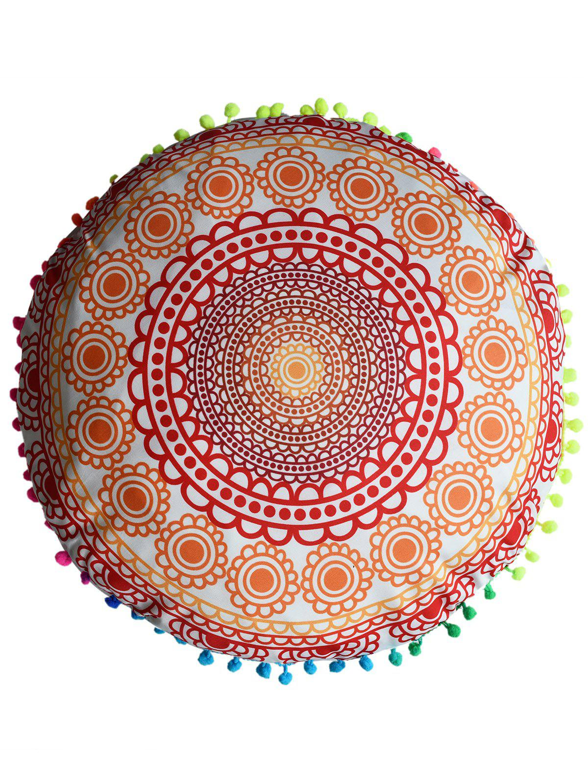 Mandala Decorative Cushion Pillow Case CoverHOME<br><br>Size: DIAMETER: 45CM; Color: ORANGE; Material: Polyester / Cotton; Pattern: Floral; Style: Accent/Decorative; Shape: Round; Weight: 0.0500kg; Package Contents: 1 x Pillow Case;