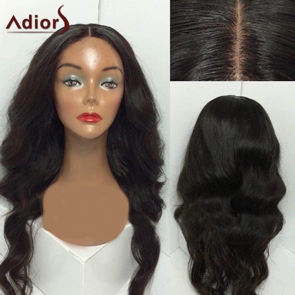 Adiors Center Part Shaggy Long Wavy Synthetic WigHAIR<br><br>Size: 28INCH; Color: BLACK; Type: Full Wigs; Cap Construction: Capless; Style: Wavy; Material: Synthetic Hair; Bang Type: Middle; Length: Long; Length Size(Inch): 28; Weight: 0.3000kg; Package Contents: 1 x Wig;