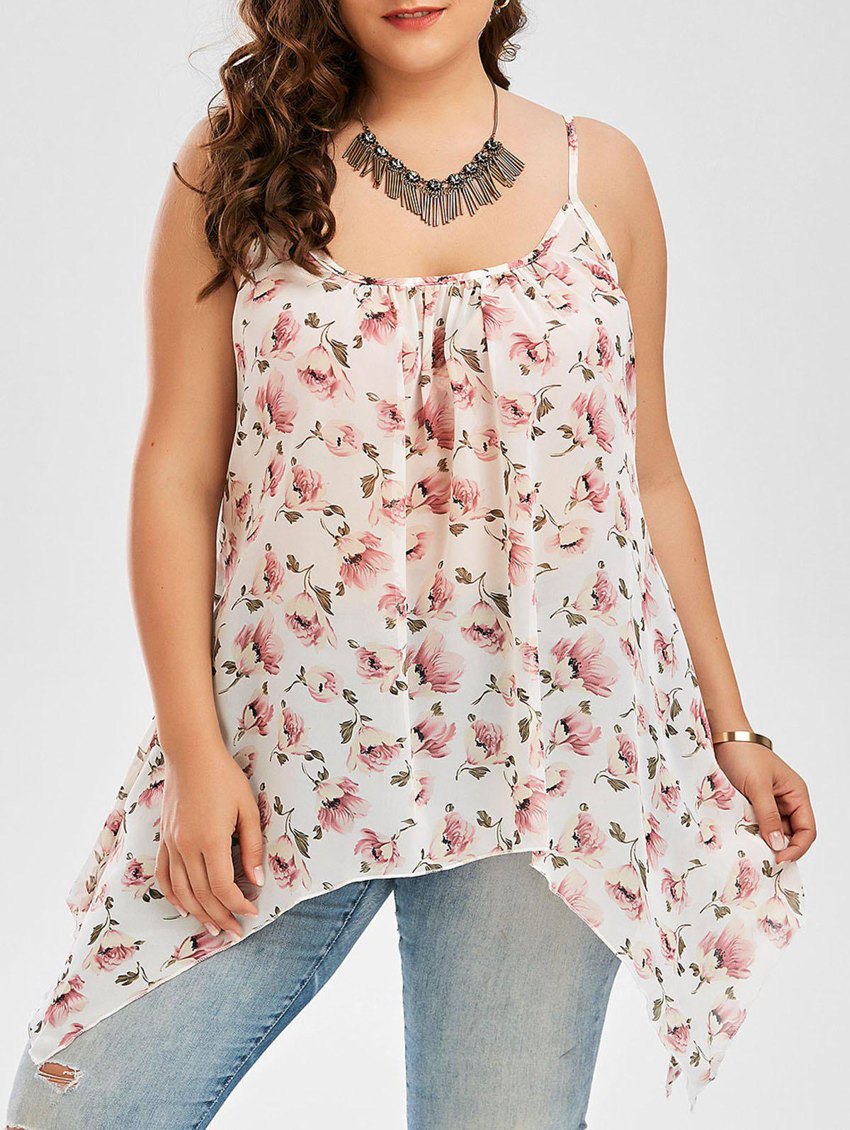 Plus Size Chiffon Floral Printed Cami Asymmetric  TopWOMEN<br><br>Size: 5XL; Color: WHITE; Material: Cotton Blends,Polyester; Fabric Type: Chiffon; Shirt Length: Regular; Sleeve Length: Sleeveless; Collar: Spaghetti Strap; Style: Fashion; Season: Spring,Summer; Embellishment: Backless; Pattern Type: Floral; Weight: 0.1500kg; Package Contents: 1 x Cami Top;