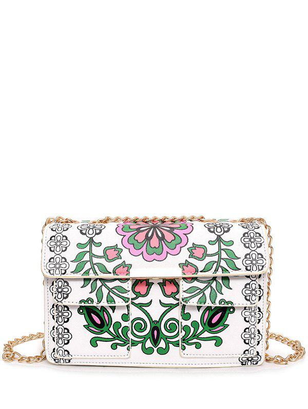 Cheap Chain Flower Print Crossbody Bag