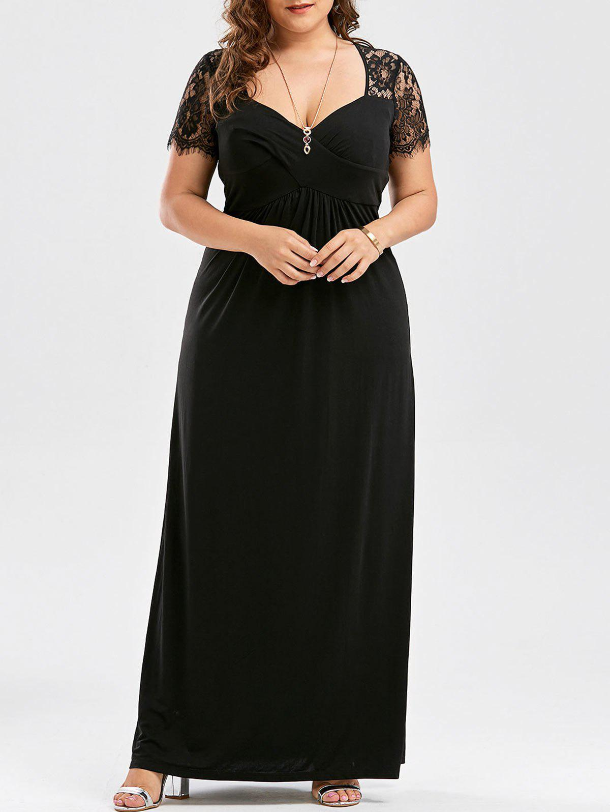 Lace Panel Plus Size Sweetheart Formal DressWOMEN<br><br>Size: XL; Color: BLACK; Style: Brief; Material: Polyester,Spandex; Silhouette: Straight; Dresses Length: Floor-Length; Neckline: Sweetheart Neck; Sleeve Length: Short Sleeves; Waist: Empire; Embellishment: Lace; Pattern Type: Solid Color; With Belt: No; Season: Summer; Weight: 0.5400kg; Package Contents: 1 x Dress;