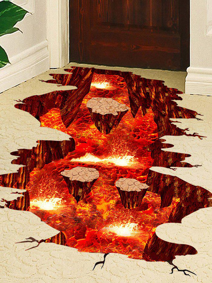 Volcano Vinyl Floor 3D Wall StickerHOME<br><br>Size: 60*90CM; Color: RED; Wall Sticker Type: 3D Wall Stickers; Functions: Decorative Wall Stickers; Theme: Landscape; Material: PVC; Feature: Removable; Weight: 0.3751kg; Package Contents: 1 x Wall Sticker;