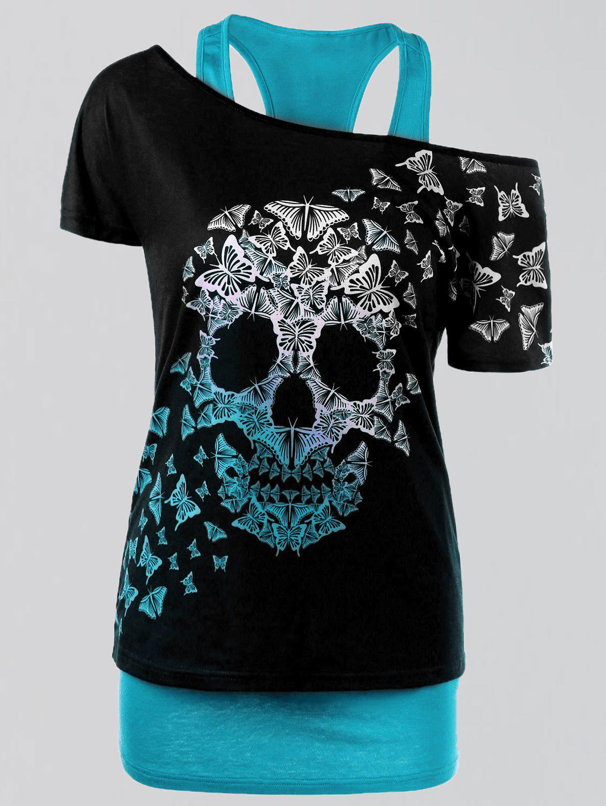 Plus Size Butterfly Skull T-shirt and Tank TopWOMEN<br><br>Size: 4XL; Color: LAKE BLUE; Material: Polyester,Spandex; Shirt Length: Regular; Sleeve Length: Short; Collar: Convertible Collar; Style: Casual; Season: Summer; Pattern Type: Skulls; Weight: 0.3500kg; Package Contents: 1 x T-shirt  1 x Tank Top;