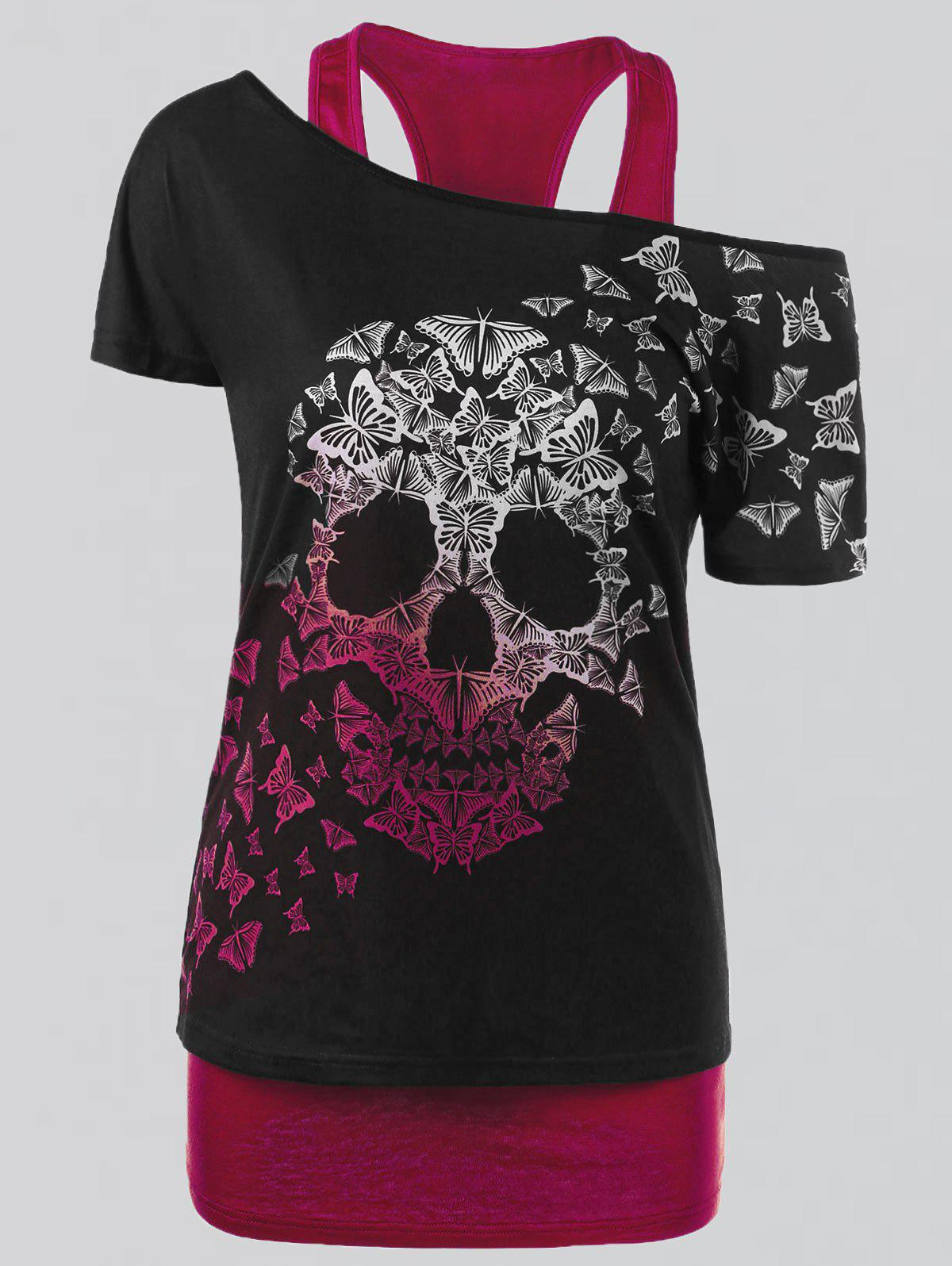 Plus Size Butterfly Skull T-shirt and Tank TopWOMEN<br><br>Size: 3XL; Color: RED; Material: Polyester,Spandex; Shirt Length: Regular; Sleeve Length: Short; Collar: Convertible Collar; Style: Casual; Season: Summer; Pattern Type: Skulls; Weight: 0.3500kg; Package Contents: 1 x T-shirt  1 x Tank Top;