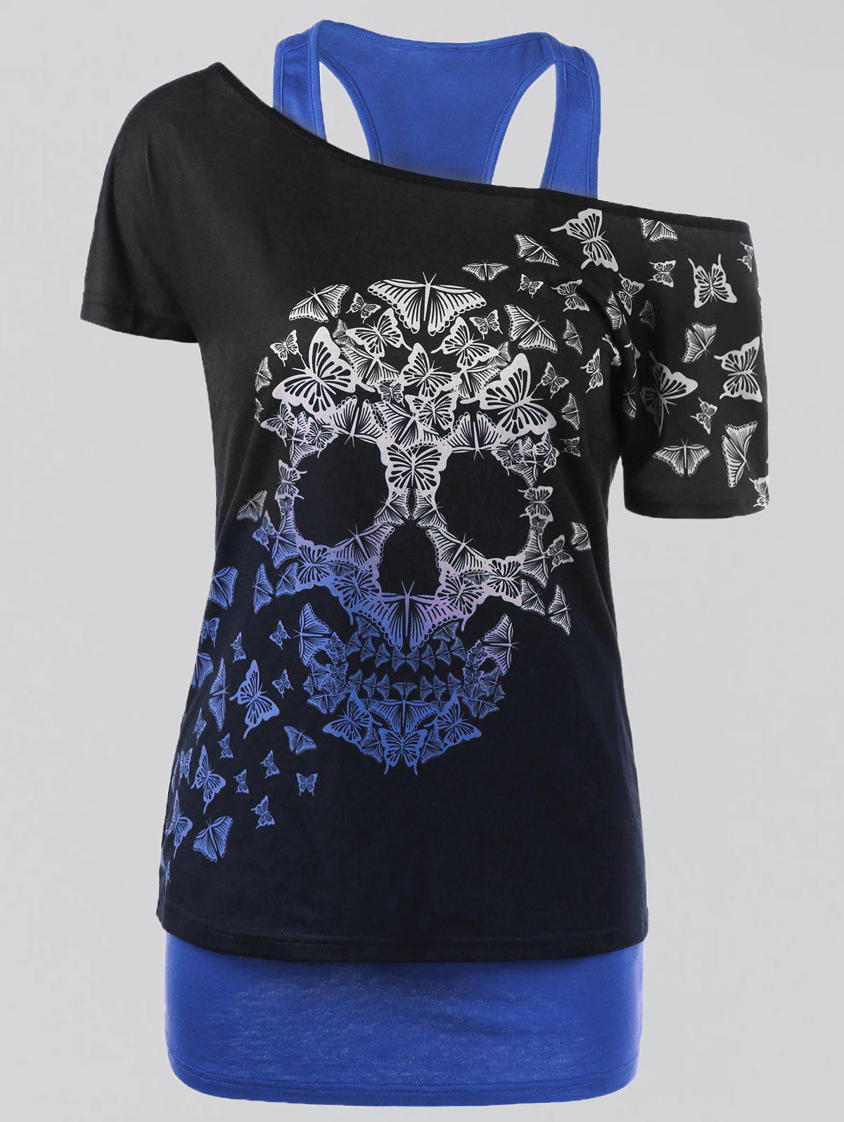 Plus Size Butterfly Skull T-shirt and Tank TopWOMEN<br><br>Size: 2XL; Color: BLUE; Material: Polyester,Spandex; Shirt Length: Regular; Sleeve Length: Short; Collar: Convertible Collar; Style: Casual; Season: Summer; Pattern Type: Skulls; Weight: 0.3500kg; Package Contents: 1 x T-shirt  1 x Tank Top;