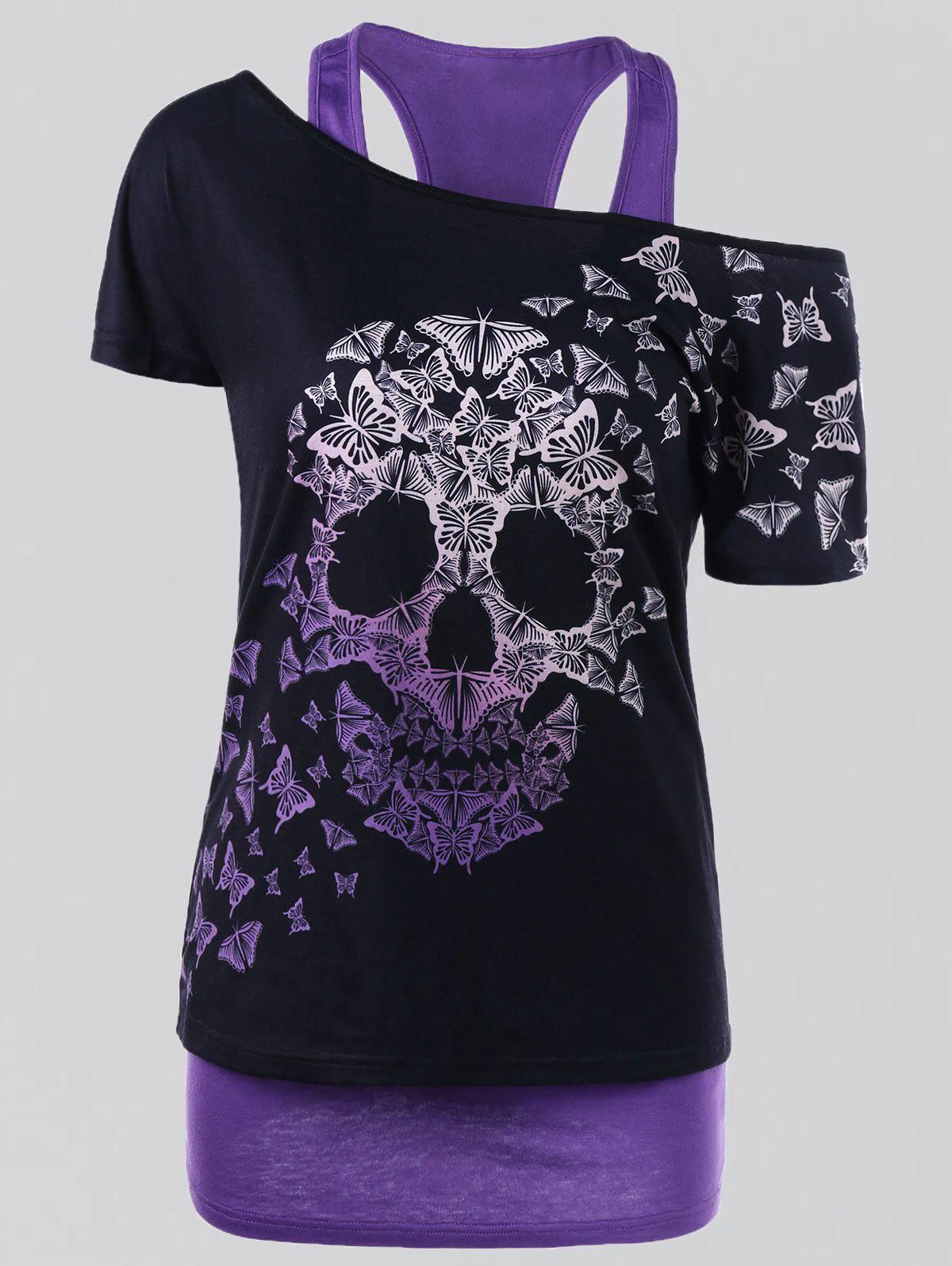 Plus Size Butterfly Skull T-shirt and Tank TopWOMEN<br><br>Size: 3XL; Color: PURPLE; Material: Polyester,Spandex; Shirt Length: Regular; Sleeve Length: Short; Collar: Convertible Collar; Style: Casual; Season: Summer; Pattern Type: Skulls; Weight: 0.3500kg; Package Contents: 1 x T-shirt  1 x Tank Top;