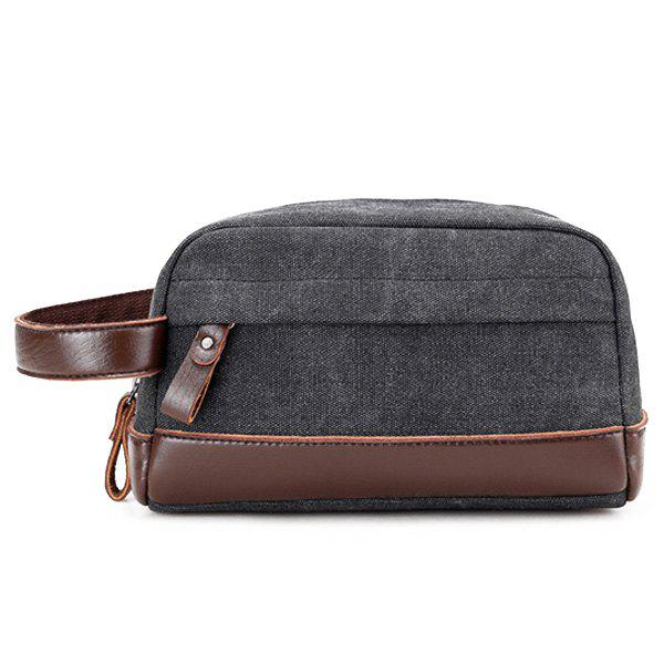 Affordable Faux Leather Panel Canvas Clutch Bag