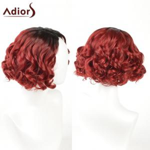 Adiors Short Curly Side Part Shaggy Layered Ombre Synthetic Wig - Black And Red