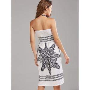 Tribal Print Bohemian Strapless Dress - WHITE S