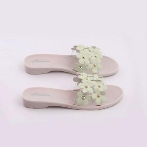 Transparent Plastic Flowers Flat Heel Slippers -