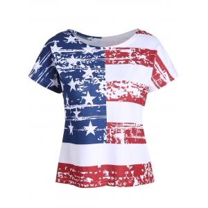 Backless Distressed American Flag T-Shirt