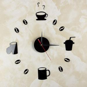 Home Decor Cup Pattern Analog DIY Wall Clock - Noir