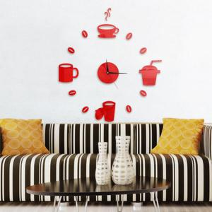 Home Decor Cup Pattern Analog DIY Wall Clock - Rouge