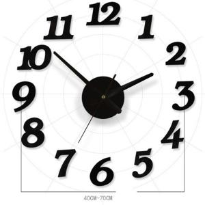 Home Decor Number DIY Horloge murale analogique - Noir