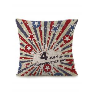 Patriotic Star Letter Print Linen Pillow Case - Multi - 45*45cm