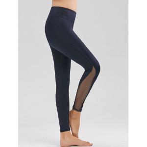 Fishnet Mesh Panel High Rise Fitness Leggings - Purplish Blue - L