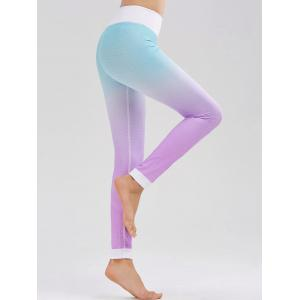 Fishscale Printed Ombre High Waist Fitness Leggings - Azure - L