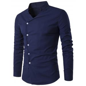 Oblique Placket Stand Collar Long Sleeve Shirt - Cadetblue - Xl