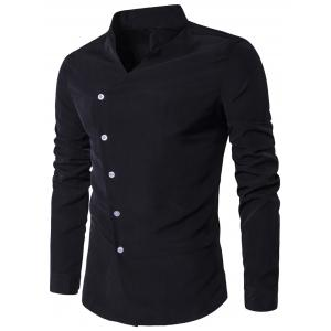 Oblique Placket Stand Collar Long Sleeve Shirt