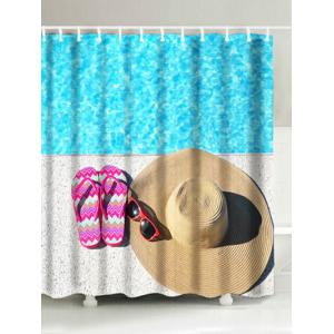 Slippers Straw Hat Sunglasses Print Bathroom Shower Curtain - Lake Blue - W71 Inch * L71 Inch