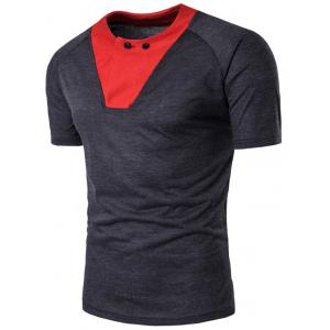 Raglan Sleeve Color Block Panel Button T-shirt