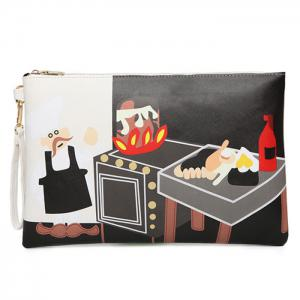 PU Leather Cartoon Printed Clutch Bag - Black