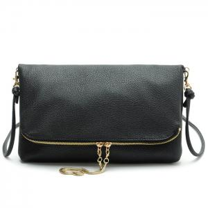 Faux Leather Fold Down Crossbody Bag