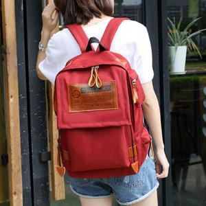 Multi Pockets Graphic Patch Backpack - WINE RED