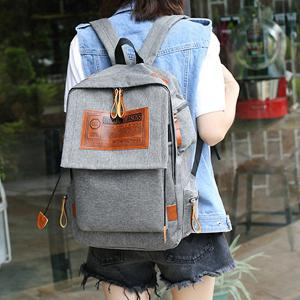 Multi Pockets Graphic Patch Backpack - GRAY