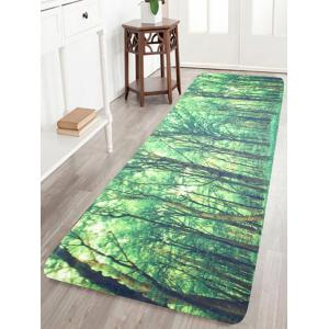 Coral Fleece Area Rug with Forest Pattern