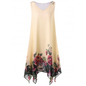 Plus Size Floral Sleeveless Handkerchief Dress - Apricot - 5xl