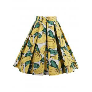 Print High Waisted Pleated Skirt -
