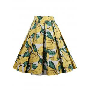Print High Waisted Pleated Skirt - Yellow - 2xl