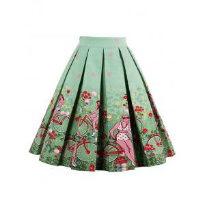 Print High Waisted Pleated Skirt - Green - Xl