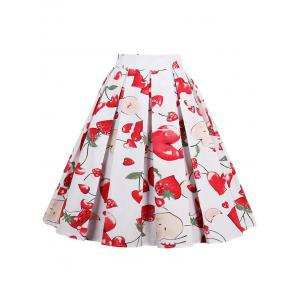 Print High Waisted A Line Skirt -