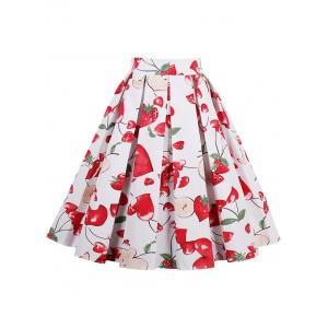 Print High Waisted A Line Skirt