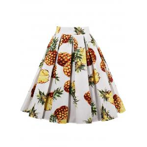 Pineapple Print High Waisted Pleated Skirt - White - L